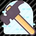 cutting tools, hammer, hatchet, tomahawk, woodcutting icon