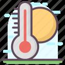 high degree, hot weather, summer daytime, summer season, weather temperature icon