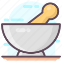 medicine bowl, mortar, pestle mortar, pharmacist, pharmacy tool icon