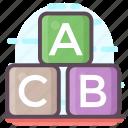 abc block, alphabet blocks, alphabets, education, kindergarten, learning icon