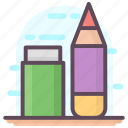 eraser, office material, pen, pencil, sketching tool, stationery tools icon