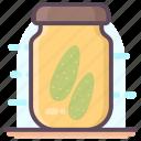 canned goods, grocery storage, pickle jar, preserved food, vegetable icon