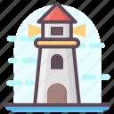 lighthouse, marine direction, navigational building, ship navigation, watchtower icon