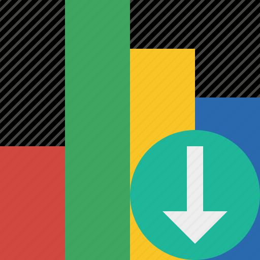 analytics, bar, chart, download, graph, report, statistics icon