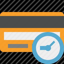 buy, card, clock, credit, debit, money, payment icon