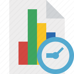 bar, chart, clock, document, file, graph, report icon