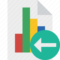 bar, chart, document, file, graph, previous, report icon