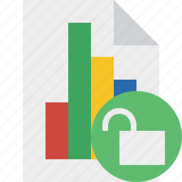bar, chart, document, file, graph, report, unlock icon