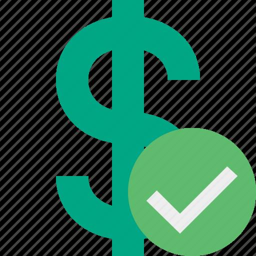 business, cash, currency, dollar, finance, money, ok icon