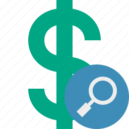 business, cash, currency, dollar, finance, money, search icon