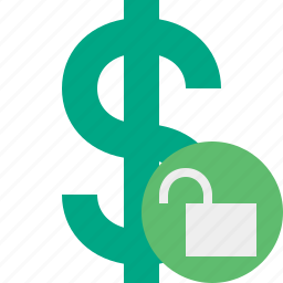 business, cash, currency, dollar, finance, money, unlock icon