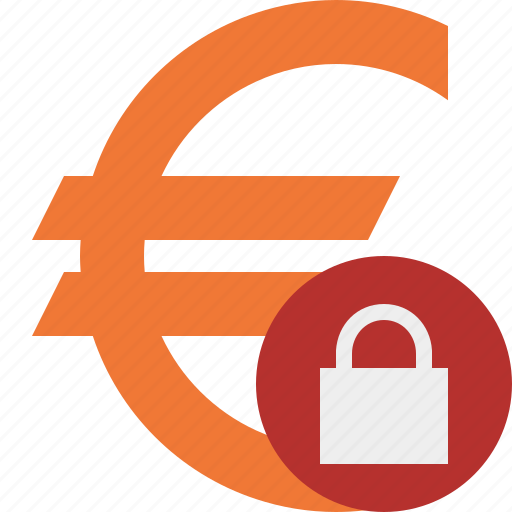business, cash, currency, euro, finance, lock, money icon