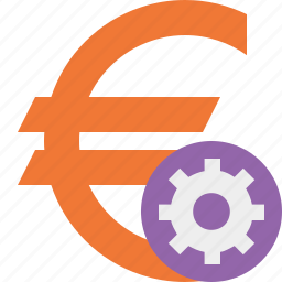 business, cash, currency, euro, finance, money, settings icon