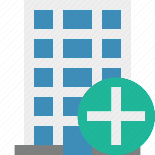 add, building, business, company, estate, house, office icon