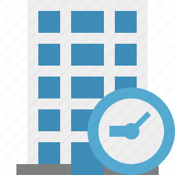 building, business, clock, company, estate, house, office icon