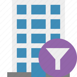 building, business, company, estate, filter, house, office icon