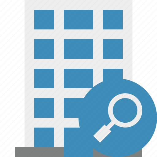 building, business, company, estate, house, office, search icon