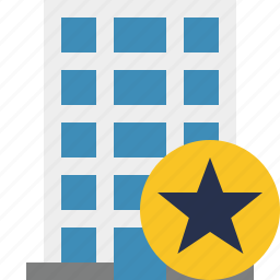 building, business, company, estate, house, office, star icon