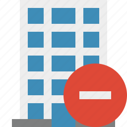 building, business, company, estate, house, office, stop icon