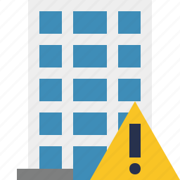 building, business, company, estate, house, office, warning icon