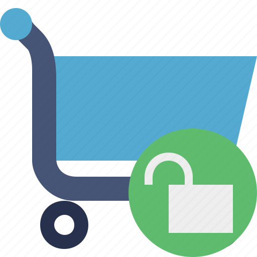 buy, cart, ecommerce, shop, shopping, unlock icon