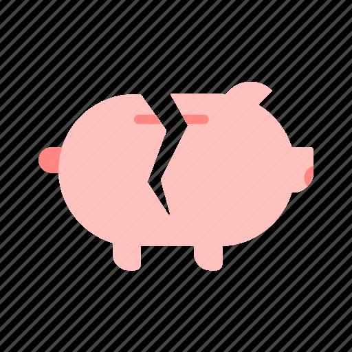 bank, break, icon, money, piggy, savings icon
