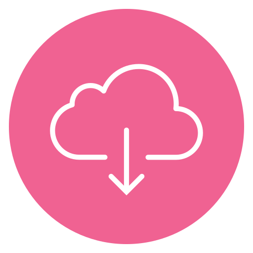 circle, cloud, content, down, download icon