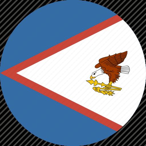 american, circle, flag, samoa icon