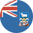 circle, falkland, flag, islands icon