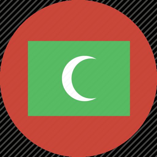 circle, flag, maldives icon