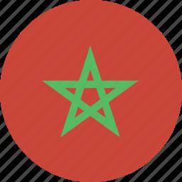 circle, flag, morocco icon
