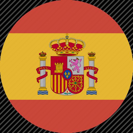 circle, flag, spain icon