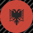 albania, circle, flag icon