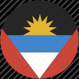 and, antigua, barbuda, circle, flag icon
