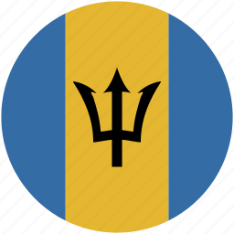 barbados, circle, flag icon