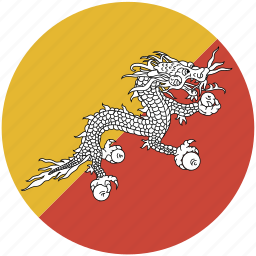 bhutan, circle, flag icon