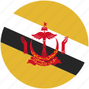 brunei, circle, flag icon