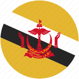 brunei, circle, flag icon