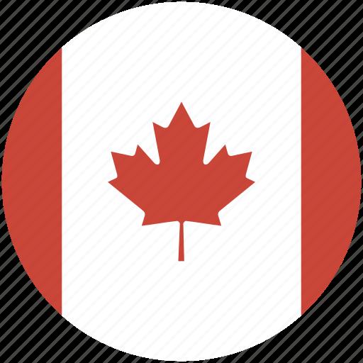 canada, circle, flag icon