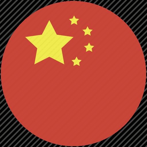 china, circle, flag icon