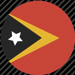 circle, east, flag, timor icon