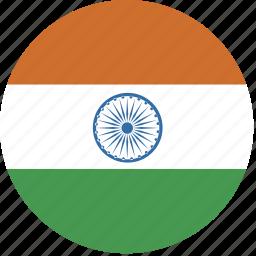 circle, flag, india icon