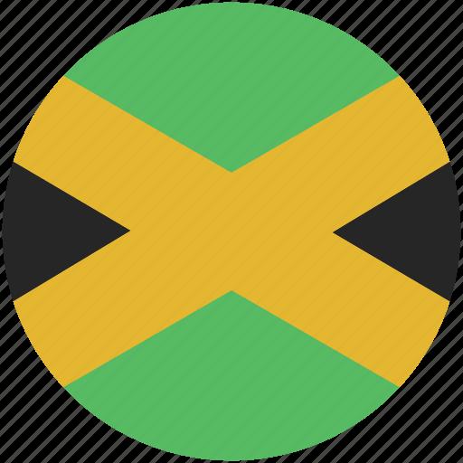 circle, flag, jamaica icon