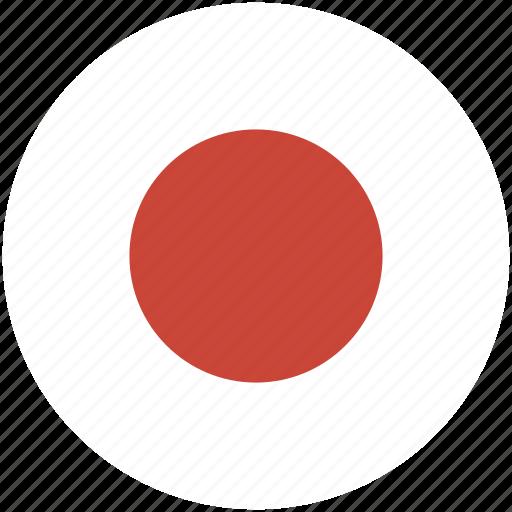 circle, flag, japan icon