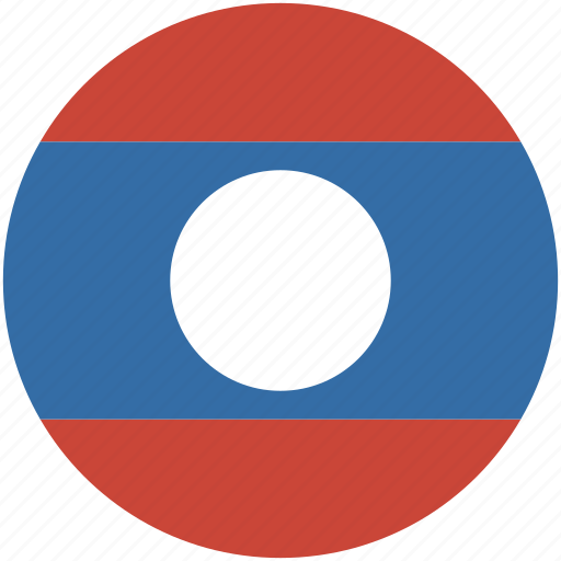 circle, flag, laos icon