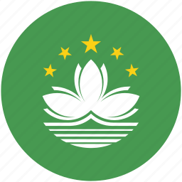 circle, flag, macau icon