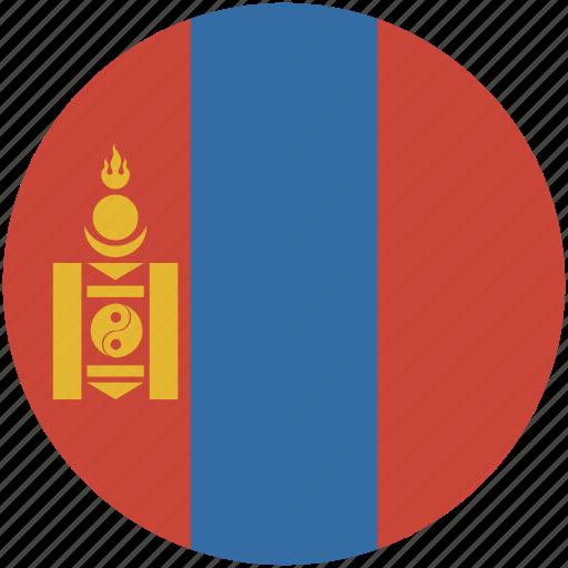 circle, flag, mongolia icon