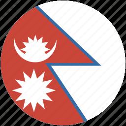 circle, flag, nepal icon