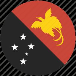 circle, flag, guinea, new, papua icon