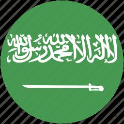 arabia, circle, flag, saudi icon